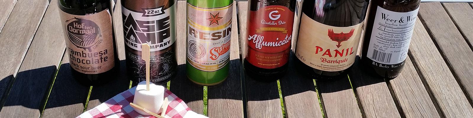 Bierproeverij fijne bieren op een rij